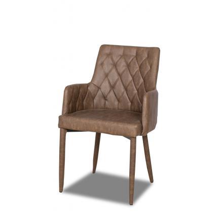sillas mueble de sala tapizada en ecopiel marrón