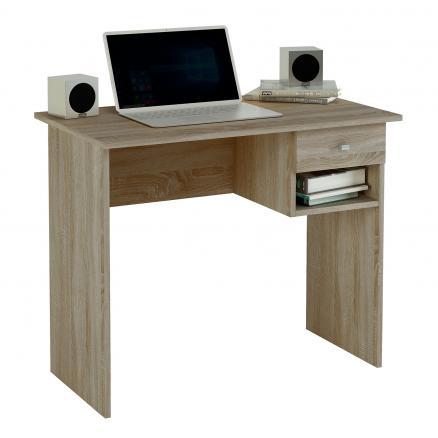 mesa de escritorio en color roble estantes cajón