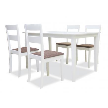Conjunto de mesa + 4 sillas en blanco | Rapimueble