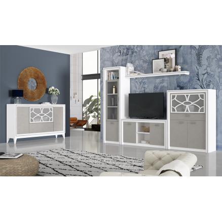 Muebles salon blanco poro gris nude composición