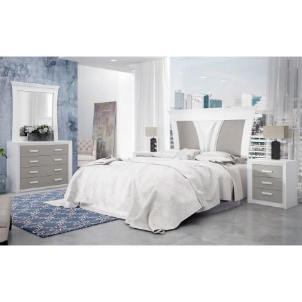 dormitorios matrimonio en blanco y gris cabecero decorado