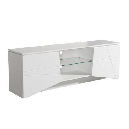 mesa tv moderna blanco brillo con estante muebles baratos