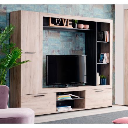 mueble de salon apilable roble y roble oscuro moderno