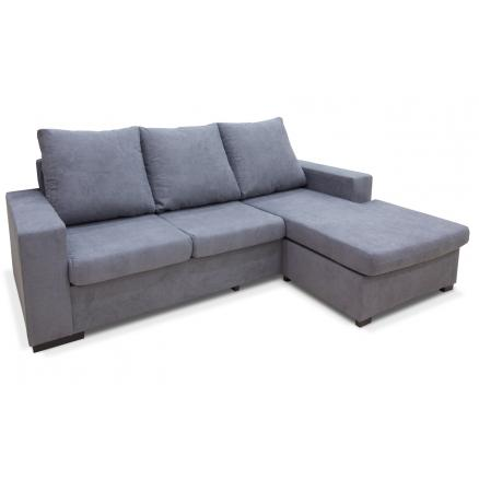 chaiselongue reversible gris sofá 3 plazas moderno